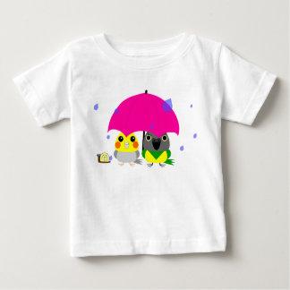 オカメインコオウム Cockatiel en de Papegaai & de paraplu Baby T Shirts