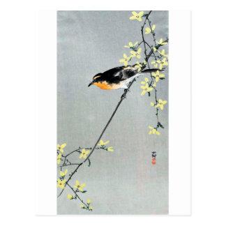 レンギョウに小鳥, 古邨 Vogel op Forsythia, Ohara Koson Briefkaart