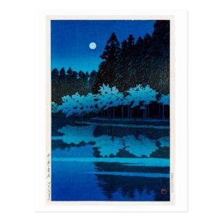 井之頭公園の月, Maan bij Inokashira Park, Hasui Kawase Briefkaart