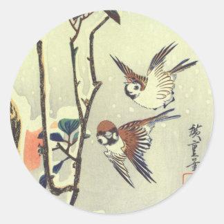 椿に雀, 広重 Camelia en Mus, Hiroshige, ukiyo-E Ronde Sticker