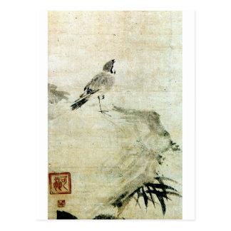 竹と雀, 可翁 Mus en Bamboe (detail), Kao Briefkaart