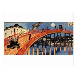 義経と弁慶, 国芳, Yoshitsune & Benkei, Kuniyoshi, ukiyo-E Briefkaart