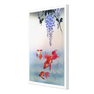 金魚と藤, 小原古邨 Goudvis en Wisteria, Ohara Koson Canvas Afdruk