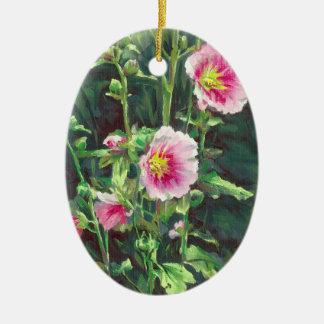 0013 Roze Stokrozen Keramisch Ovaal Ornament