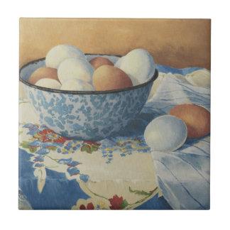 0492 Eieren in de Blauwe Kom van het Email Tegeltje