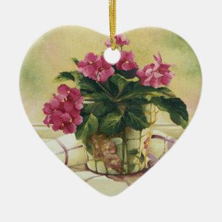 0511 Afrikaanse Viooltjes in de Planter van het Keramisch Hart Ornament