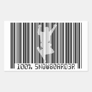 100% SNOWBOARDER 2 zwarte streepjescode Rechthoekige Sticker