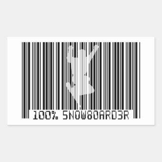 100% SNOWBOARDER 2 zwarte streepjescode Rechthoekvormige Stickers