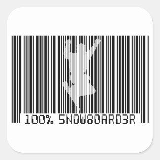 100% SNOWBOARDER 2 zwarte streepjescode Vierkante Sticker