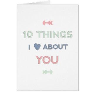 10 dingen I Liefde over u Valentijn Kaart