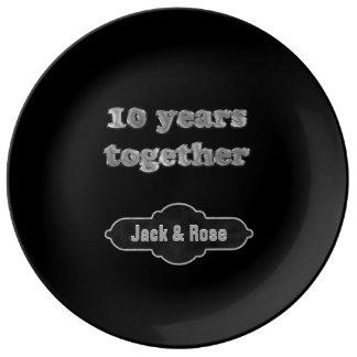 10de Herinnering   van het Jubileum 10 Jaar samen Porselein Bord