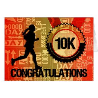 10K de looppas wenst Vrouwelijke Agent geluk Kaart