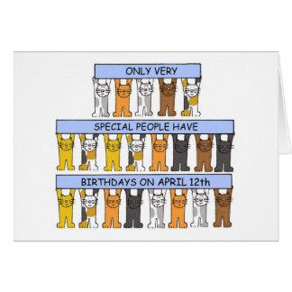 12 de Katten van de Verjaardag van april Briefkaarten 0
