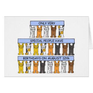 12 de Katten van de Verjaardag van augustus Wenskaart