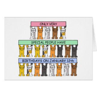 12 de Katten van de Verjaardag van januari Briefkaarten 0