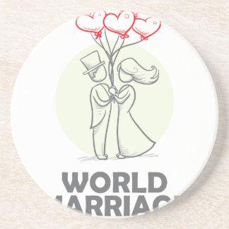 12 Februari - de Dag van het Huwelijk van de Zandsteen Onderzetter