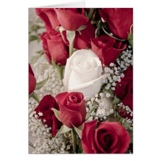 12 rood 1 wit valentijnskaartrosebuds collectie briefkaarten 0