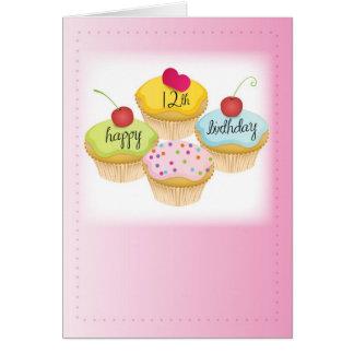 12de Verjaardag Roze Cupcakes Briefkaarten 0