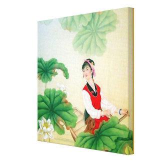 """12x12"""" Verpakt Canvas (Glans) met Chinees Motief"""