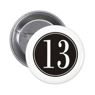 #13 zwarte Cirkel (voor) Ronde Button 5,7 Cm