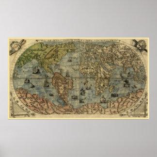 1565 de Kaart van de Wereld van Ferando Berteli Poster