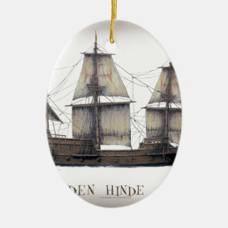 1578 gouden schip Hinde Keramisch Ovaal Ornament