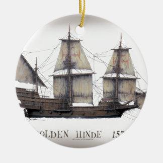 1578 gouden schip Hinde Rond Keramisch Ornament