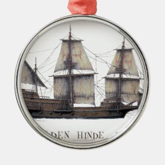 1578 gouden schip Hinde Zilverkleurig Rond Ornament
