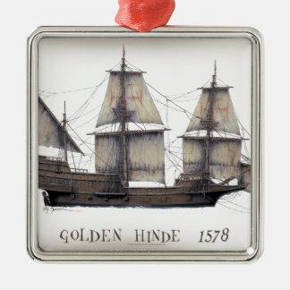 1578 gouden schip Hinde Zilverkleurig Vierkant Ornament