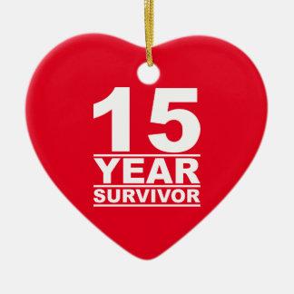 15 jaaroverlevende keramisch hart ornament