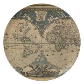 1600s originele geschilderde wereldkaart diner bord