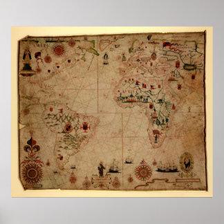 1633 Grafiek Atantic OceaanPortolan - Pascoal Roiz Poster