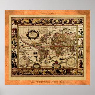 1635 het oude Poster van de Kaart van de Wereld