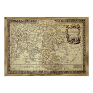 1700 Poster van de KAART van de WERELD van de