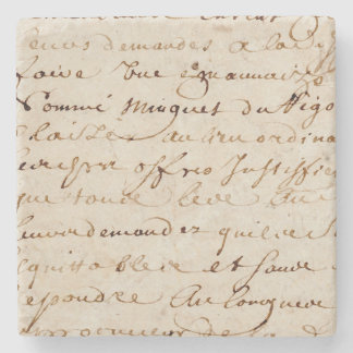 1700s het vintage Franse Document van het Stenen Onderzetter