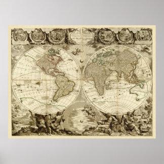 1708 de Kaart van de wereld door Jean Baptiste Poster