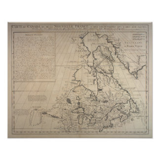 1719 French Map of New Frankrijk Poster