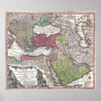 1730 Kaart Seutter van Turkije (het Imperium van Poster