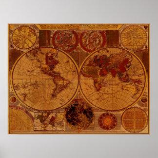 1780 het oude Art. van de Kaart van de Wereld Poster