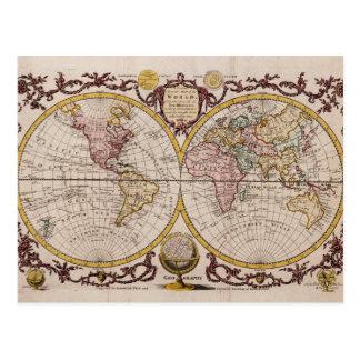 1782 kaart van de Wereld door George Augustus Briefkaart