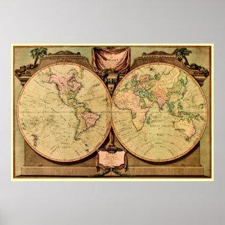 1808 de Kaart van de Wereld van de Poster