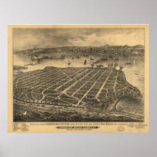 1880's de Panoramische Kaart van het Uitzicht van  Poster