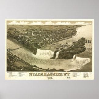 1882 de Panoramische Kaart van het Uitzicht van Poster