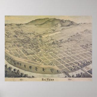 1886 de oude Kaart van de Stad van El Paso Poster