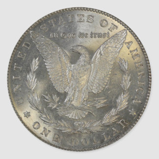 1889 Staart van de Dollar van Morgan de Zilveren Ronde Sticker