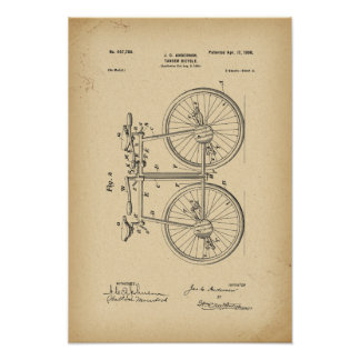 1890 de Fiets van het octrooi Achter elkaar Poster