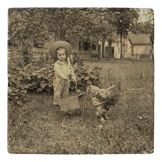 1890's het Meisje van de tuin met de Foto van de Trivet