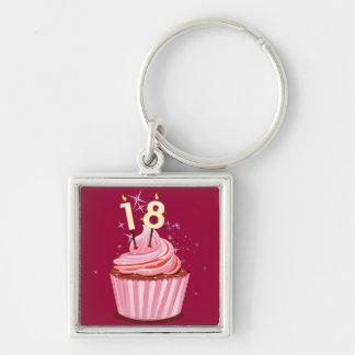 18de Verjaardag - Roze Cupcake Sleutel Hangers