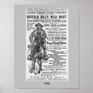1902 tonen de Wilde Westennen van Buffalo Bill het Poster