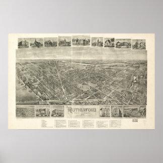 1904 Rutherford, de Panoramische Kaart van het Uit Poster